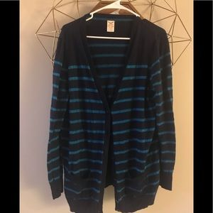 Navy and sparkle blue sweater striped xxl